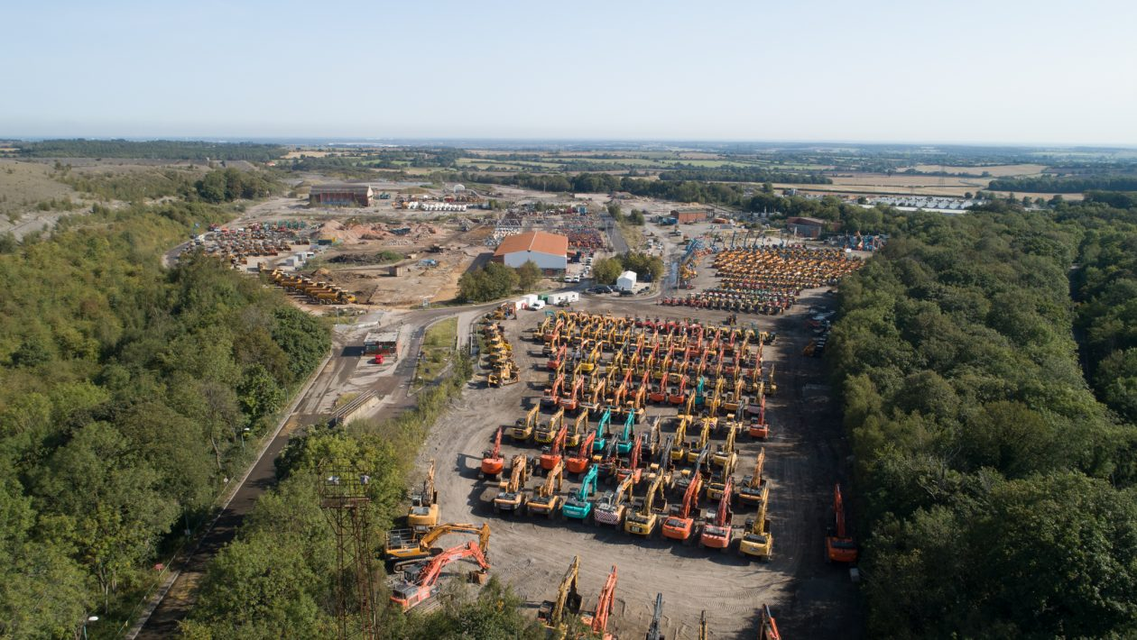 Ritchie Bros Maltby facility from the air at its last auction in September 2020